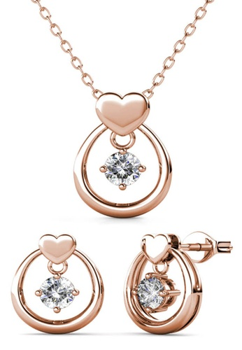 Her Jewellery gold Love Drop Set (Rose Gold) - Made with premium grade crystals from Austria A2F2BACA038FA1GS_1
