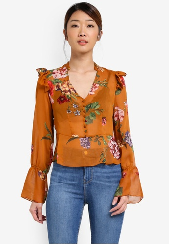 Miss Selfridge multi Floral Button Blouse MI665AA0T095MY_1