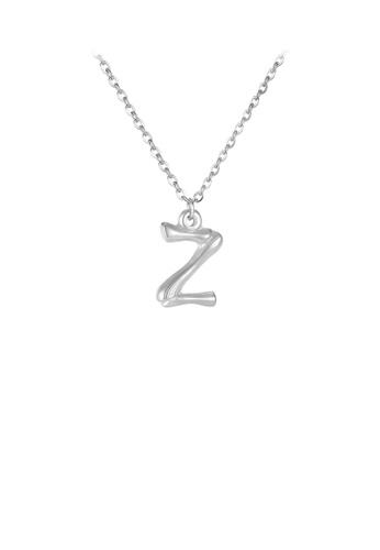 Glamorousky silver Fashion Simple English Alphabet Z 316L Stainless Steel Pendant with Necklace DA31FACF0931ECGS_1