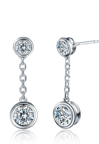 LYCKA silver J170941 S925 Silver White Zircon Trendy Style Earring-Silver LY529AC0H95SSG_1