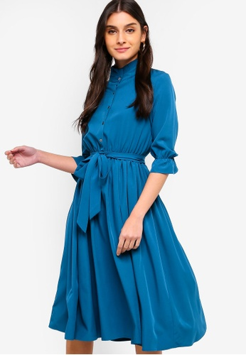 ZALORA green Pleated Neck Button Down Dress 7A591AA710592EGS_1