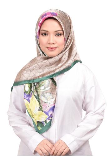 FATIMÉ multi Satin Square Hijab Gucci (Brown) 9FA6AAA35DF22AGS_1