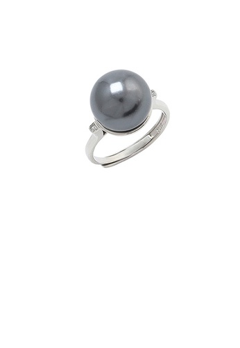 Glamorousky black 925 Sterling Silver Simple Fashion Geometric Black Freshwater Pearl Adjustable Ring with Cubic Zirconia 6C5D2ACA415346GS_1