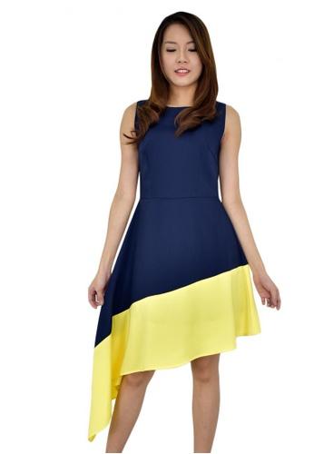 MOONRIVER black and yellow Carrie Curve Hem Dress MO886AA59TIISG_1
