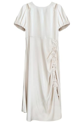 Sunnydaysweety beige French Style Puffed Sleeve Maxi One Piece Dress A21032004 D0B9DAA46FF548GS_1
