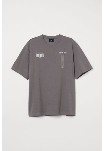 H&M grey COOLMAX® printed T-shirt 2A36CAAB267FEBGS_1