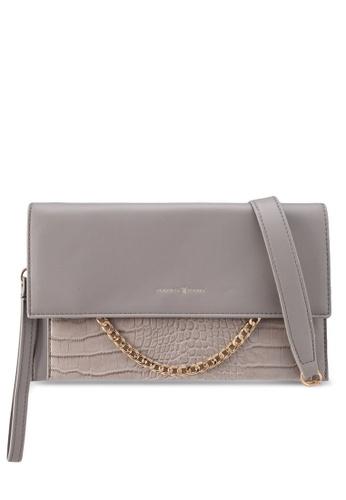 PLAYBOY BUNNY grey Chain Pleather Clutch Bag 99679AC7B96F45GS_1