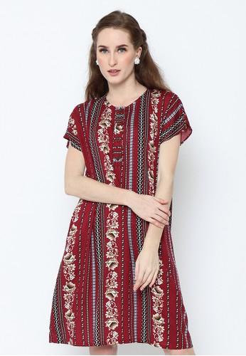 Adinata Batik red LYDIA RED DAILY WEAR DRESS 49366AA7CB5F91GS_1