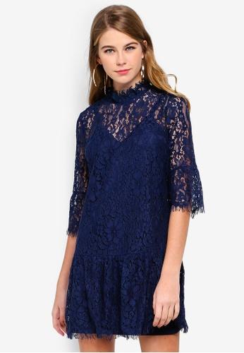 MISSGUIDED blue Lace Frill Sleeve High Neck Shift Dress 35DA0AA60A819CGS_1