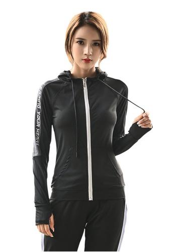 B-Code black ZYG3080-Lady Quick Drying Running Fitness Yoga Sports Jacket -Black 1DAB2AA4F3A9FCGS_1