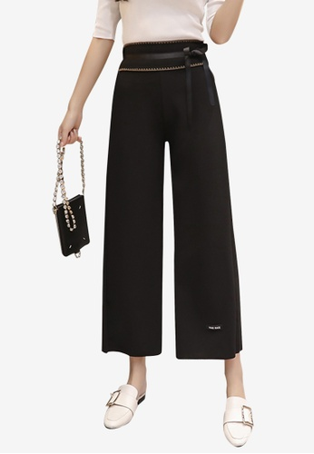 Lara black Women's Cropped Pants with Bow FEBEBAAEED2ABFGS_1