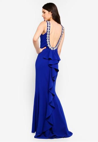 Goddiva blue Halter Neck Fishtail Maxi Dress D21AFAAF26FA7BGS_1