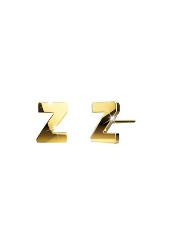 Bullion Gold gold BULLION GOLD Dainty Alphabet Letter Earring Gold Layered Steel Jewellery - Z DADDDAC985D8C7GS_1
