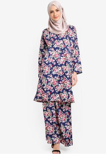 Azka Collection navy English Cotton Baju Kurung AZ019AA43LAYMY_1