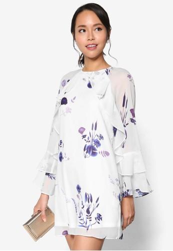 荷葉飾長袖印esprit台灣花連身裙, 服飾, 洋裝