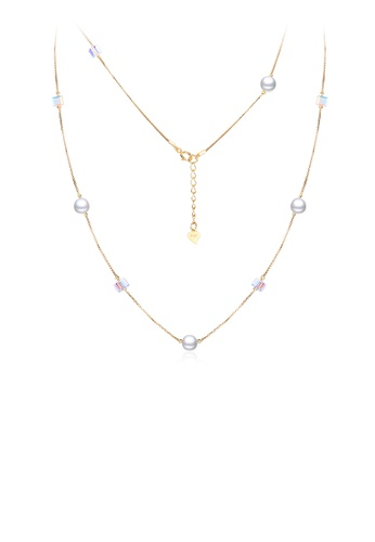Glamorousky white 925 Sterling Silver Plated Rose Gold Fashion Simple Pearl Geometric Square Austrian Element Crystal Long Necklace D2813ACACBFAB0GS_1