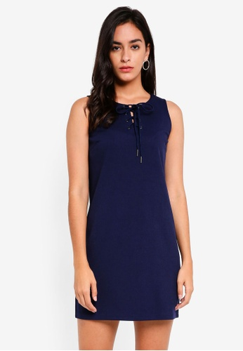 Something Borrowed navy Lace Up Sleeveless Shift Dress F67E3AA0C81E0FGS_1