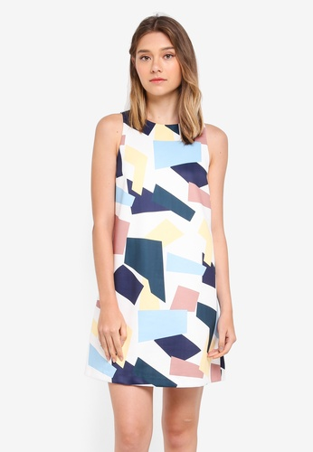 ZALORA yellow Printed Colourblock Dress EA330AA353160AGS_1