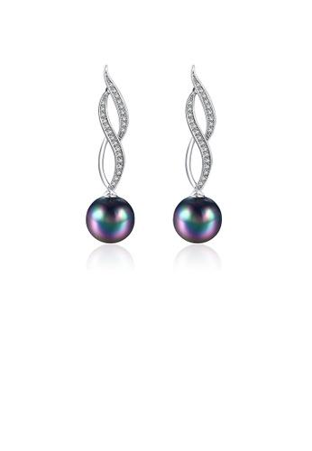 Glamorousky white Elegant Sparkling Fashion Black Pearl Earrings with Austrian Element Crystal A8039AC316B576GS_1