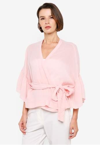 H&M pink Cotton-Blend Wrapover Blouse 0759AAA66BFBB1GS_1