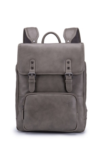 "ENZODESIGN grey ENZODESIGN ""Rockstar"" Top Grain Soft Cow Leather Backpack HK11509GRY BB5BDACA688D6BGS_1"