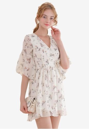 Eyescream beige Floral Wrap Dress 0F793AAA4B6CE5GS_1