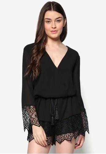 蕾絲拼接裹飾連身褲, 服飾zalora時尚購物網的koumi koumi, 連身褲
