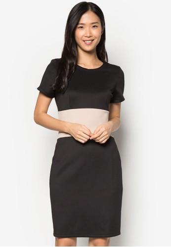 色塊短袖連身裙, 服飾, 正zalora taiwan 時尚購物網式洋裝