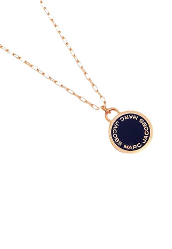 Marc Jacobs gold and navy Marc Jacobs Enamel Logo Disc Pendant Necklace M0008546 Navy Rose Gold 065EBAC4576E8FGS_1