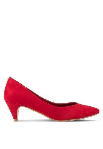 ZALORA red Faux Suede Kitten Heels 9A3C5SH9DE0564GS_1