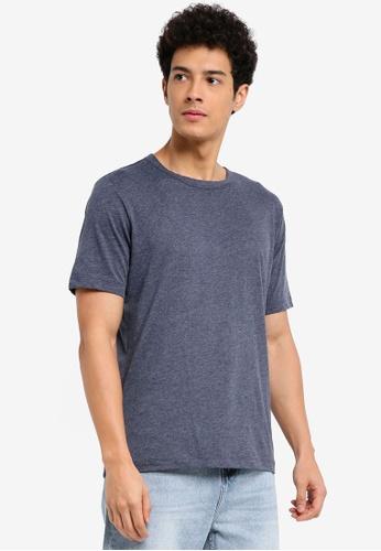 MANGO Man blue Slub-Cotton T-Shirt 5E0BBAA2804218GS_1