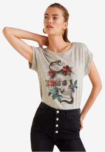 Mango grey Rock Cotton T-Shirt 83486AAF337CFBGS_1