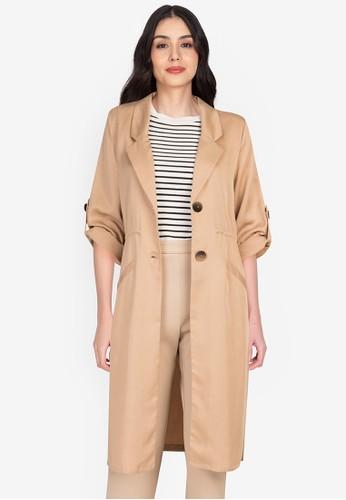 Origin by Zalora beige Long Soft Blazer made from TENCEL™ B98E5AAF17B225GS_1
