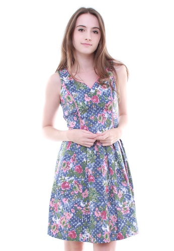 LUXORA pink and blue Floral Pink Rose on Blue Dress LU926AA63UNCSG_1