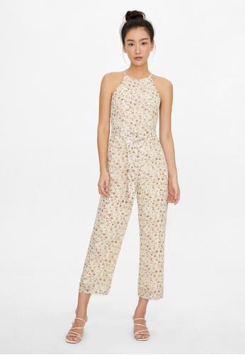 Pomelo beige Halter Belted Floral Jumpsuit - Beige 2E377AA5170462GS_1