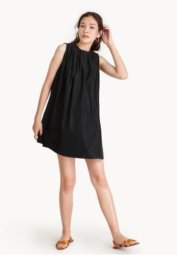 Pomelo black Babydoll Round Neck Mini Dress C7F8BAAF577E25GS_1