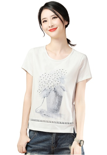 A-IN GIRLS white Hollow Three-Dimensional Applique Round Neck T-Shirt B77D3AA12CD13BGS_1