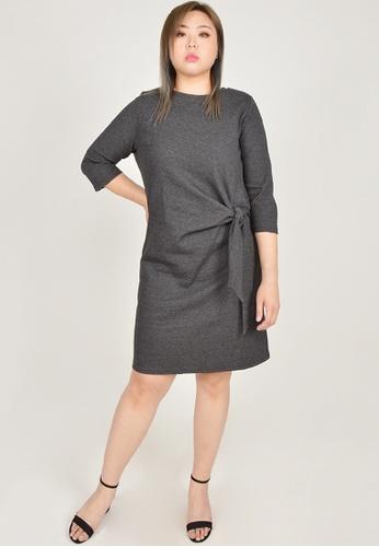 Cheetah grey Arissa Plus Size 3/4 Sleeve Tie Dress - ARS-19132 4AF2EAA19BEEDFGS_1