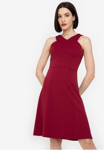 ZALORA WORK red Cut In A Line Dress 5C9DBAA4A5A964GS_1