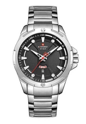 NAVIFORCE silver Naviforce NF9161 S/B Red, Black and Silver Stainless Steel Watch 923F7AC6A2A922GS_1