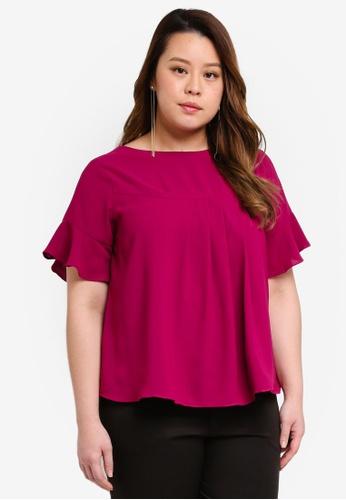 Ex'otico purple Plus Size Short Sleeve Overlap Blouse 3D8A2AAEF826CEGS_1