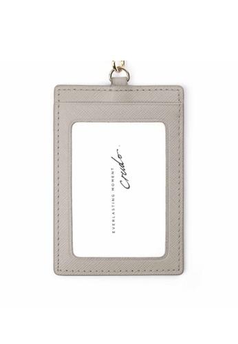 Crudo Leather Craft grey Senz'altro Leather Badge Holder - Saffiano Grey 3B87EACA0334FFGS_1