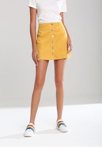 London Rag yellow Corduroy A-Line Mini Skirt CB394AA064D8C5GS_1