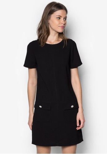 雙鈕扣口袋直筒連身裙, 服飾, zalora 包包 ptt洋裝