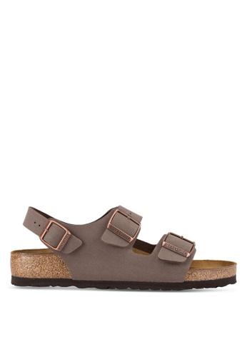 Birkenstock brown Milano Birko-Flor Nubuck Sandals BI090SH89JPQMY_1
