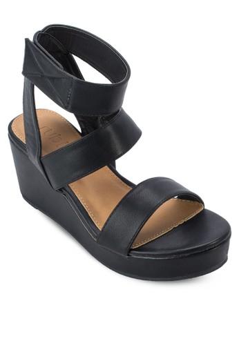 Helena 三帶楔型厚底zalora 心得涼鞋, 女鞋, 鞋