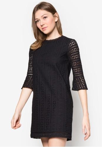 喇叭短袖鉤針洋裝, 服飾, 短zalora 衣服評價洋裝