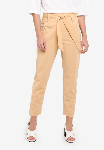 NWT KHAKI CROP TAILORED TROUSERS SIZE 12 NEW LOOK