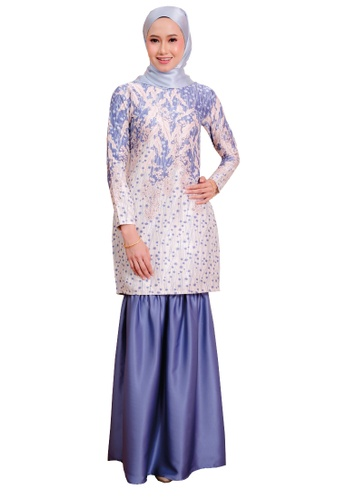 SARIMA 白色 and 藍色 古龙现代穆斯林时尚浮雕印花 AE23FAA9497BD2GS_1