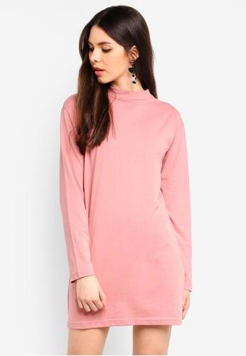 MISSGUIDED pink Long Sleeve Tshirt Dress E04BFAA5000149GS_1